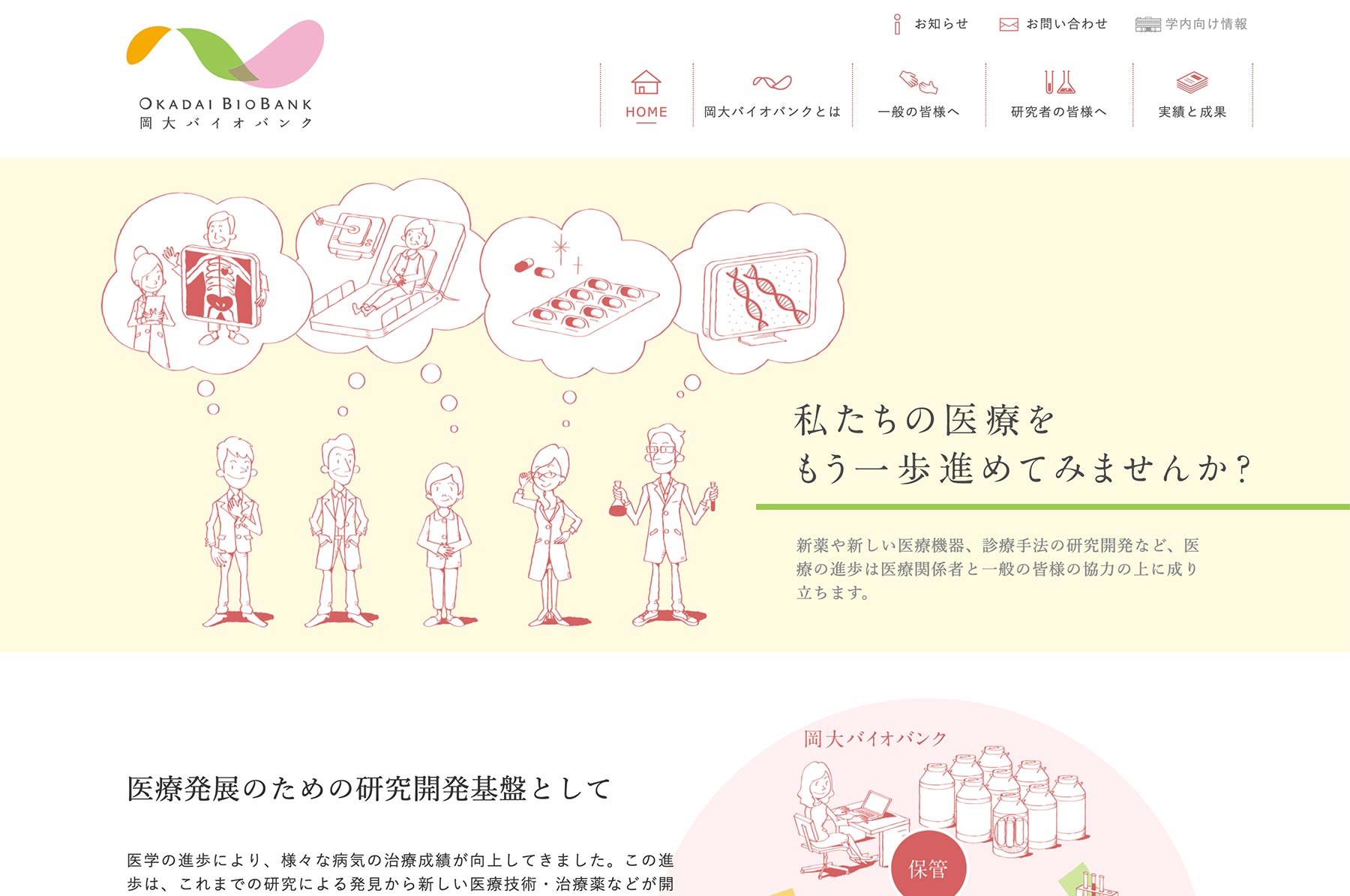 岡大バイオバンク Webデザイン PC